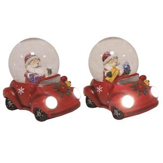 Santa Car Snowglobe 9cm 2 Assorted