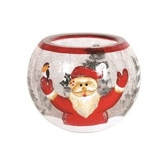Santa Globe Tealight Holder 8cm