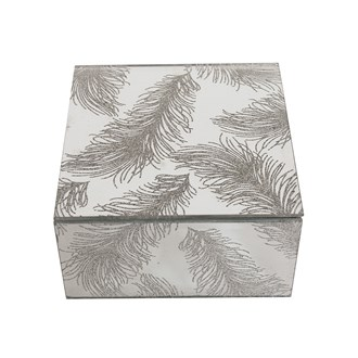 Silver Glass Feather Jewellery Box 12cm