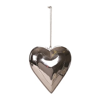 Silver Hanging Heart Decoration 19cm