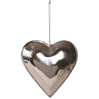 Silver Hanging Heart Decoration 24cm