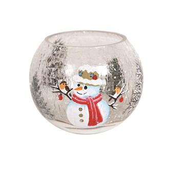 Snowman Globe Tealight Holder 8cm