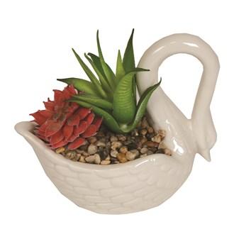 Artificial Succulent in Swan Pot 11cm