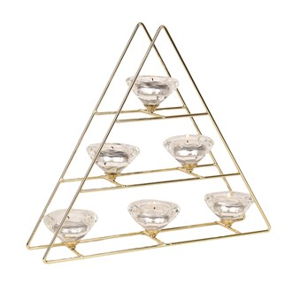 Tree Style Six Tea Light Holder in Gold 30cm