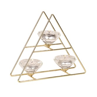 Tree Style Triple Tea Light Holder in Gold 20cm