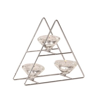 Tree Style Triple Tea Light Holder in Silver 20cm