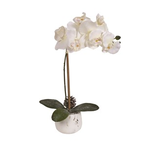 White Orchid Marbled Pot 45cm