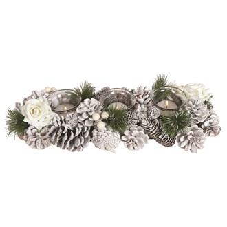 White Rose 3 Tealight Holder 36cm