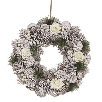 White Rose Wreath 38cm