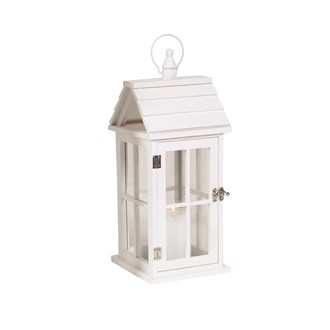 Wooden White House Lantern 43cm