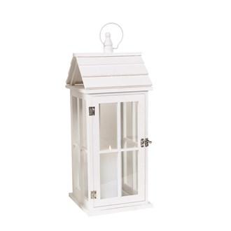 Wooden White House Lantern 51cm