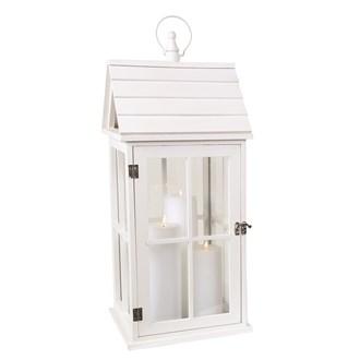 Wooden White House Lantern  58cm