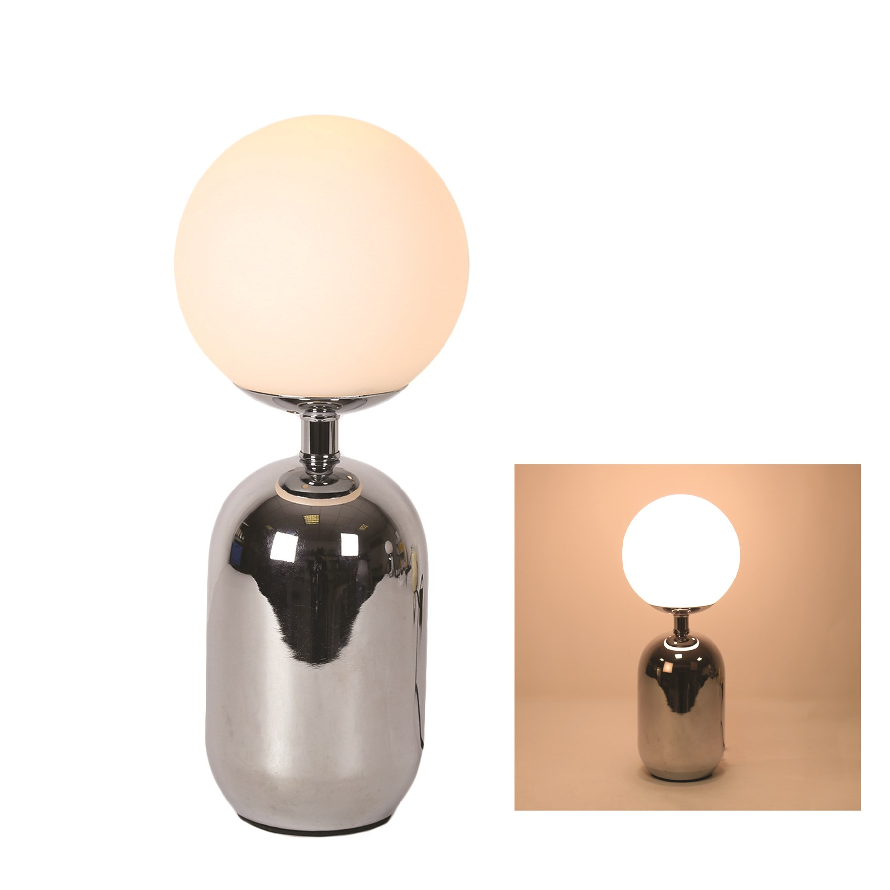 Retro silver table lamp with opal globe 36cm aloadofball Images