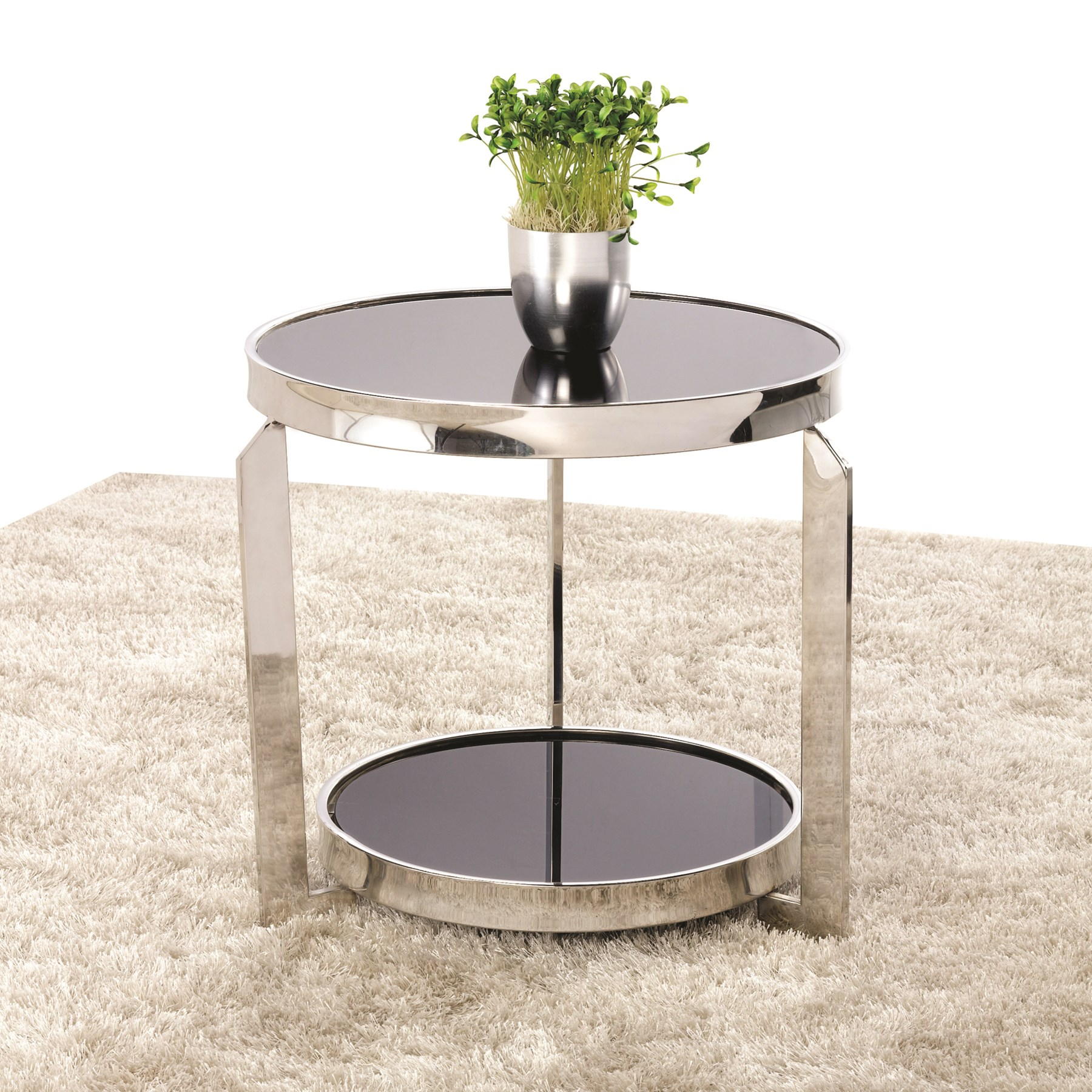 Round chrome black glass lamp table 48cm aloadofball