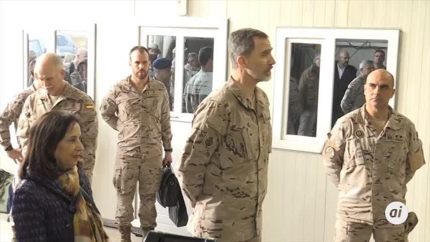 Militares de la misión en Irak cantan a Felipe VI el cumpleaños feliz