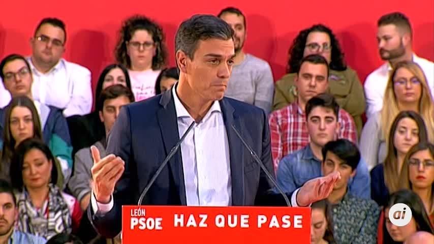 """Sánchez señala a los líderes de PP, C's y Vox como """"los tres temores"""""""