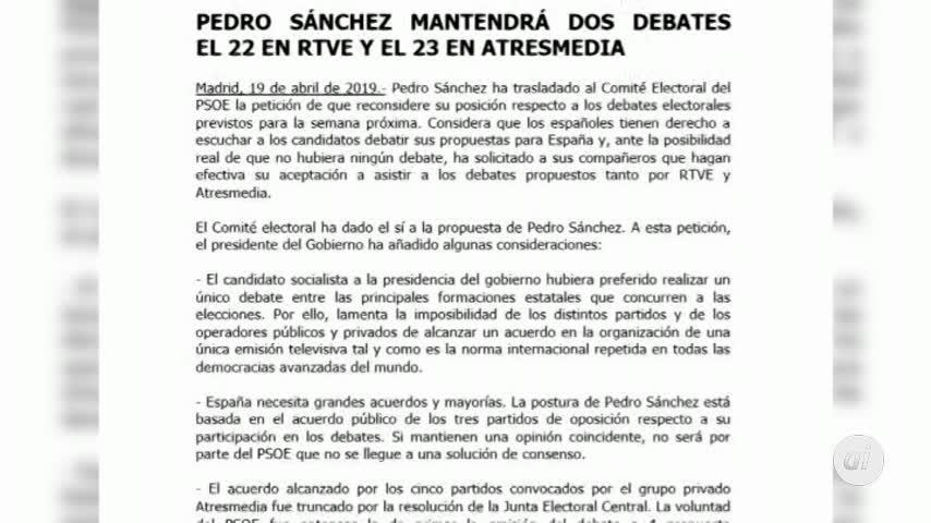 Sánchez cede y acudirá a dos debates electorales, en RTVE y Atresmedia