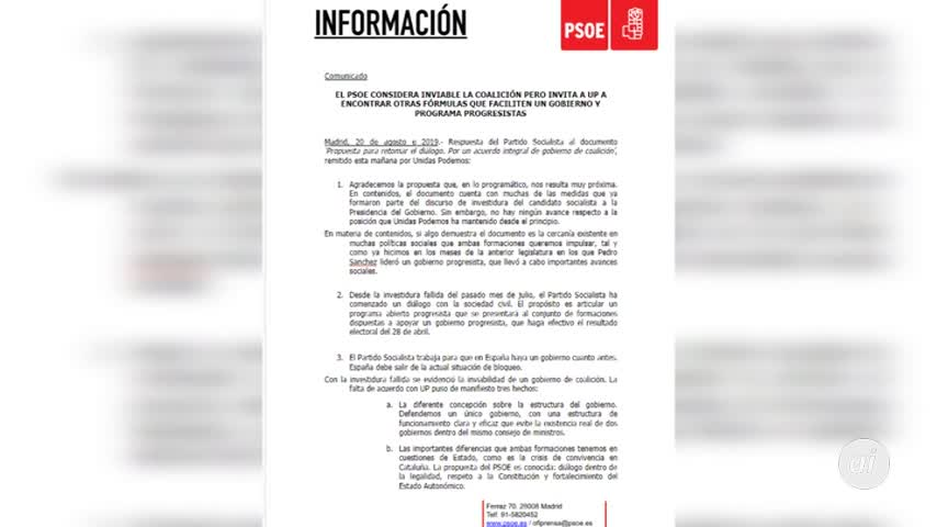 """El PSOE ve """"inviable"""" la coalición con Unidas Podemos"""