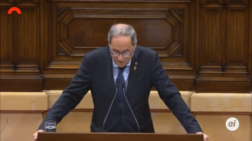 Torra lanza el órdago: Cataluña será independiente esta legislatura