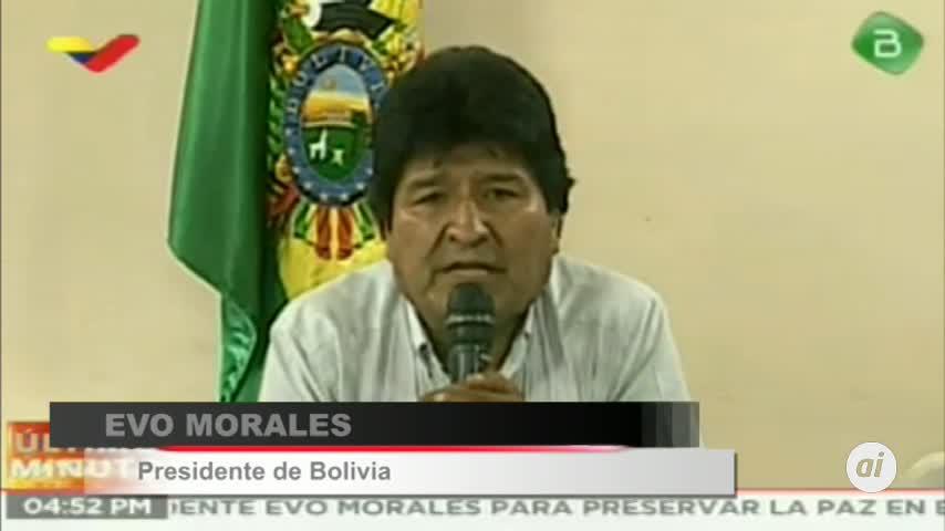 Renuncia el presidente de Bolivia, Evo Morales