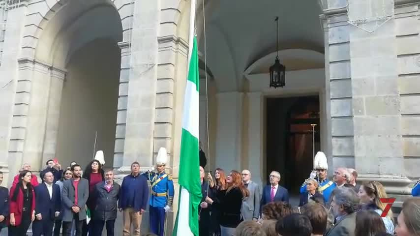 Izado de la bandera de Andalucía en el Ayuntamiento por el 4D