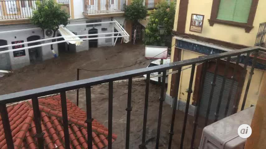 La borrasca Elsa provoca graves inundaciones en Nerva