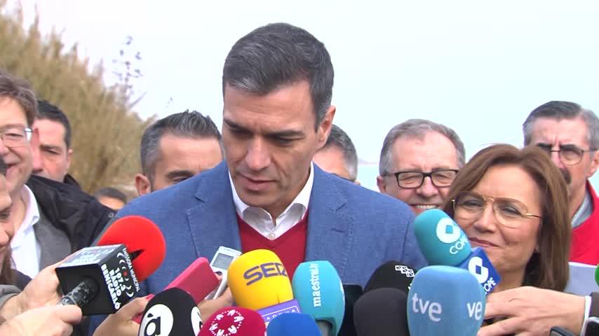 Sánchez sobrevuela en Murcia las zonas afectadas por 'Gloria'