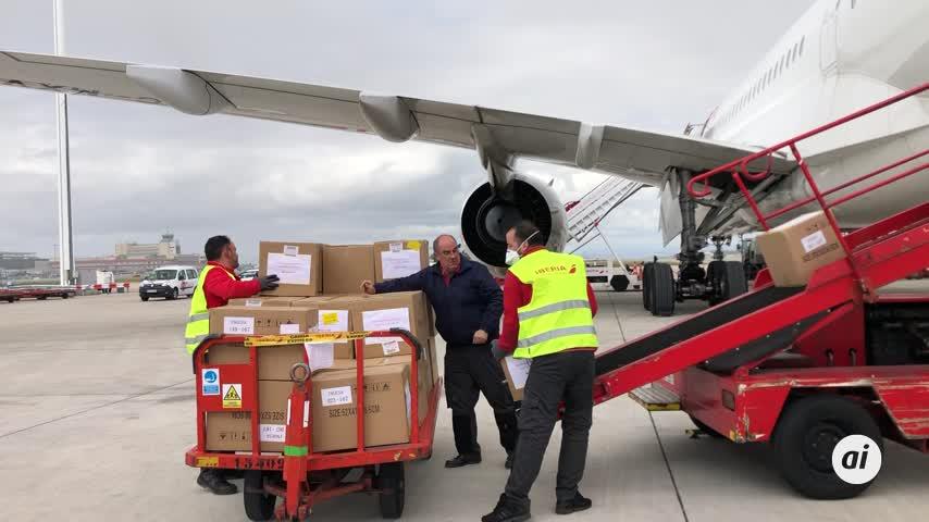 Aterriza en Madrid un avión con 12,5 toneladas de material de China