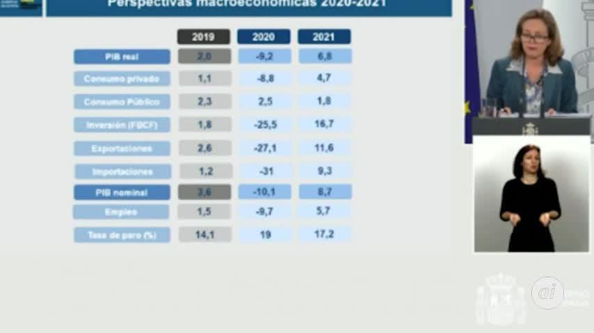 El Gobierno prevé un desplome del PIB del 9,2% y un 19% de paro