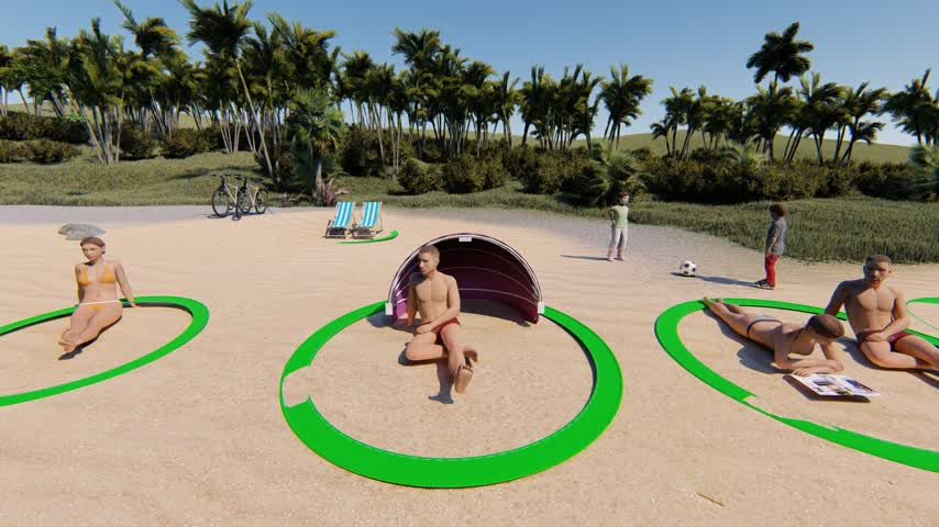 Un aro para marcar territorio y el distanciamiento social en la playa