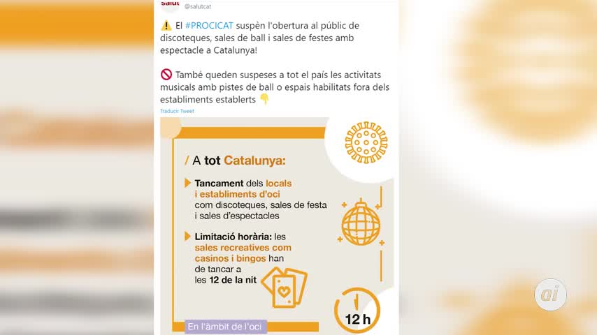 Cataluña suspende la apertura al público de discotecas y salas de fiesta
