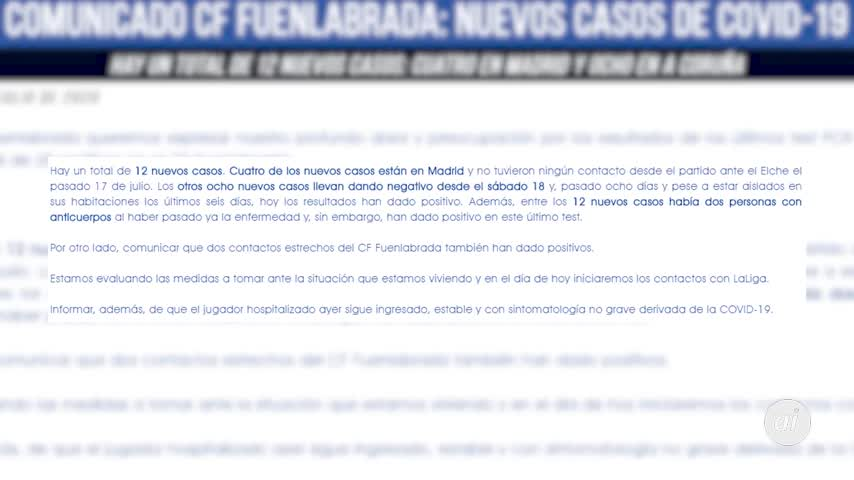 El CF Fuenlabrada anuncia 12 nuevos contagios hasta un total de 28