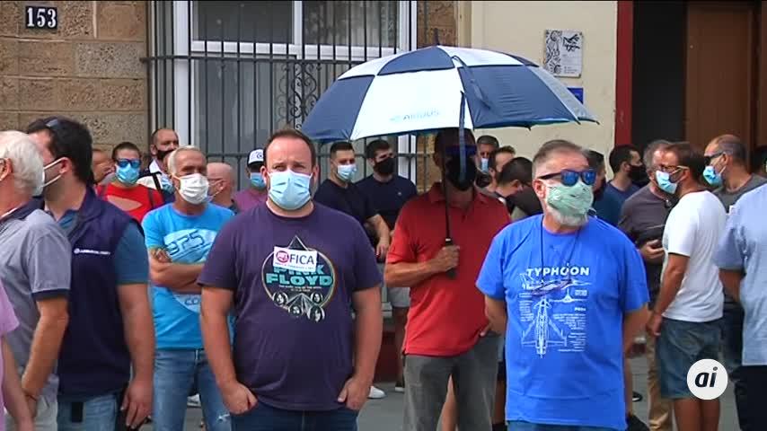 Seguimiento masivo de la huelga del sector aeroespacial en la Bahía de Cádiz