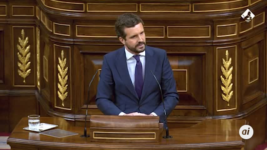 Pablo Casado acusa a Pedro Sánchez de gobernar con