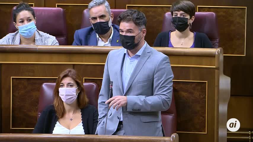 Rufián avisa a Sánchez: si la mesa catalana fracasa, PP y Vox llegarán al Gobierno