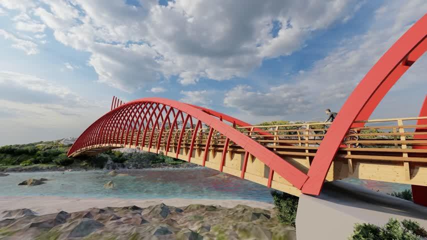 Una pasarela sobre el río Cachón para dar continuidad a la ruta Eurovelo 8