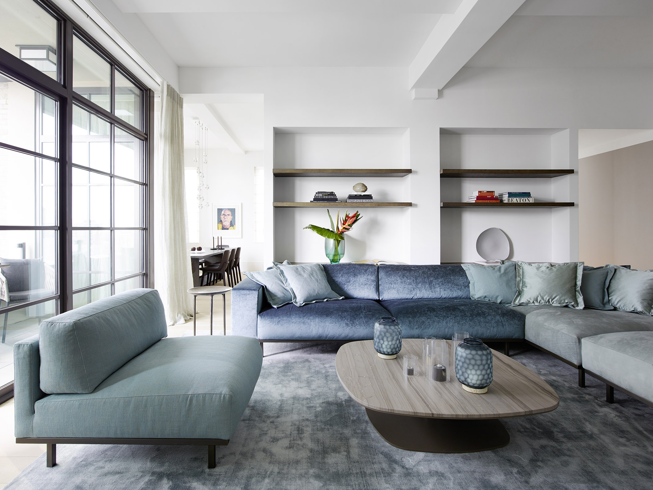 DON sofa and armchair and KEK coffee table at metropolitan penthouse