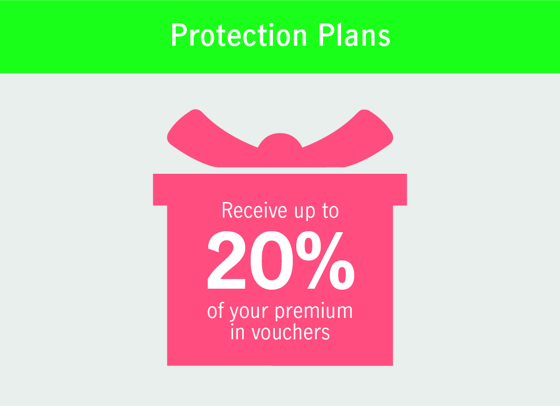 Receive up to 20% of your premium in vouchers