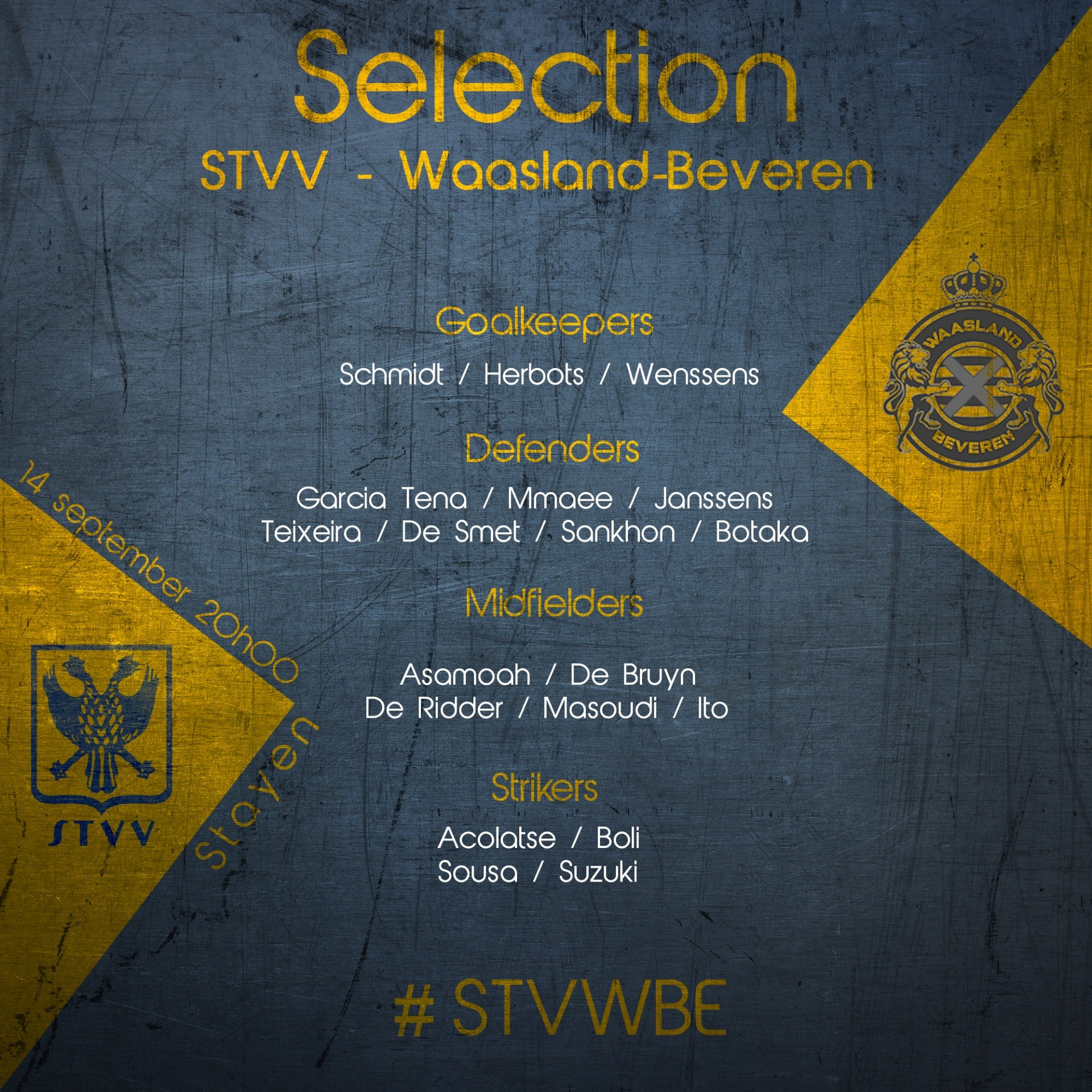 Selection News: STVV - Waasland Beveren 2019-2020