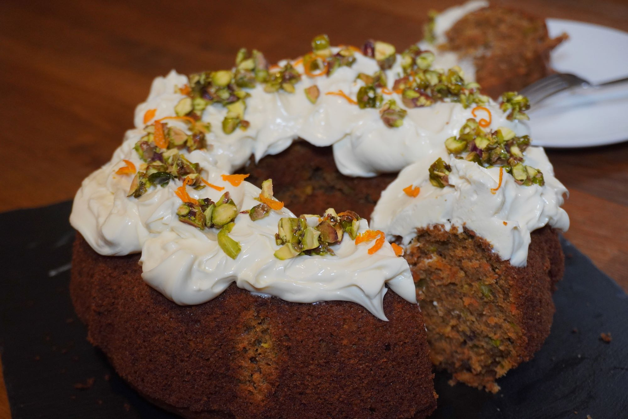 Spelt Bundt Carrot Cake with cream cheese icing