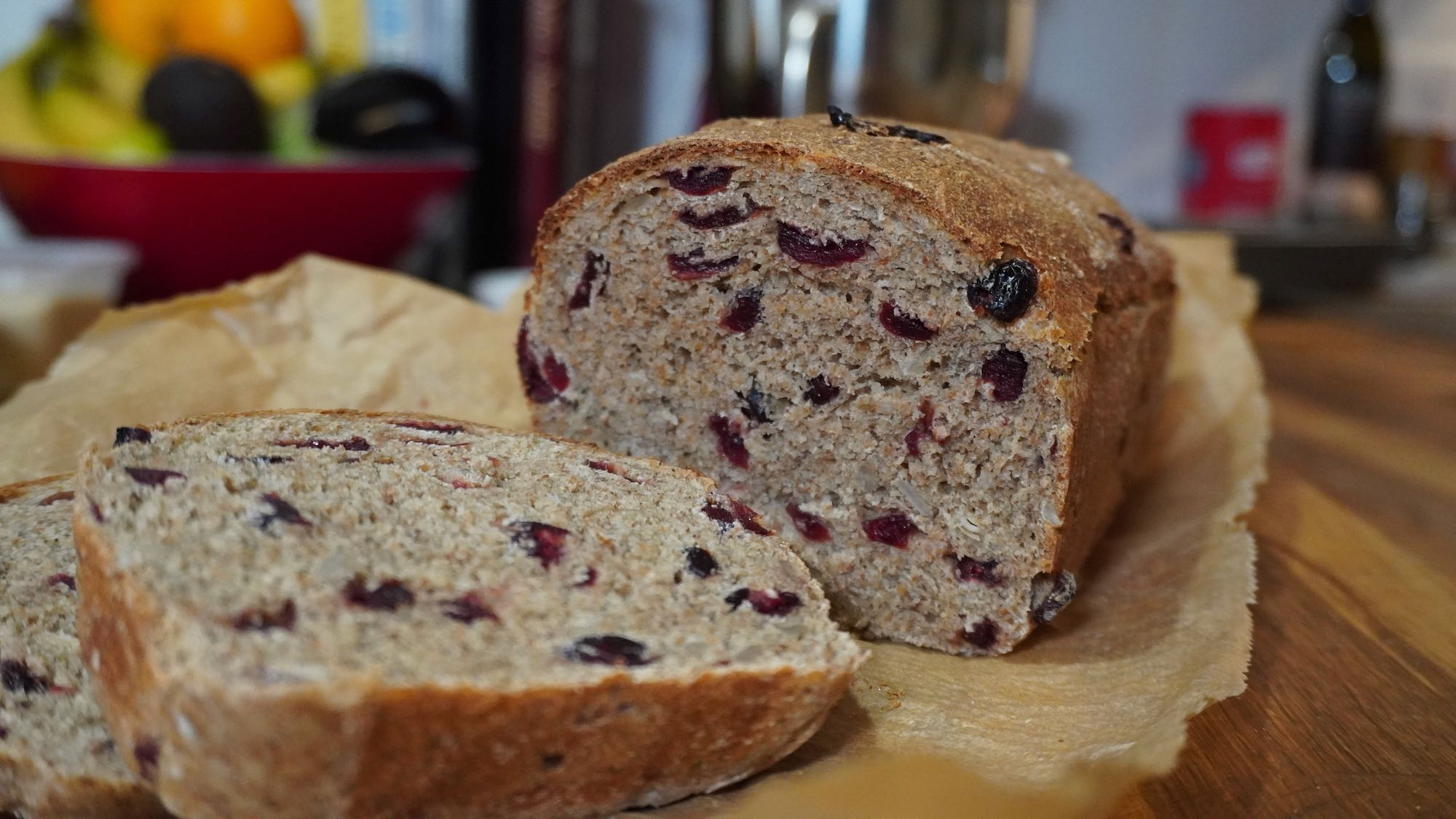 Cranberry Bread in 2-2.5 hours – no knead – no bread machine