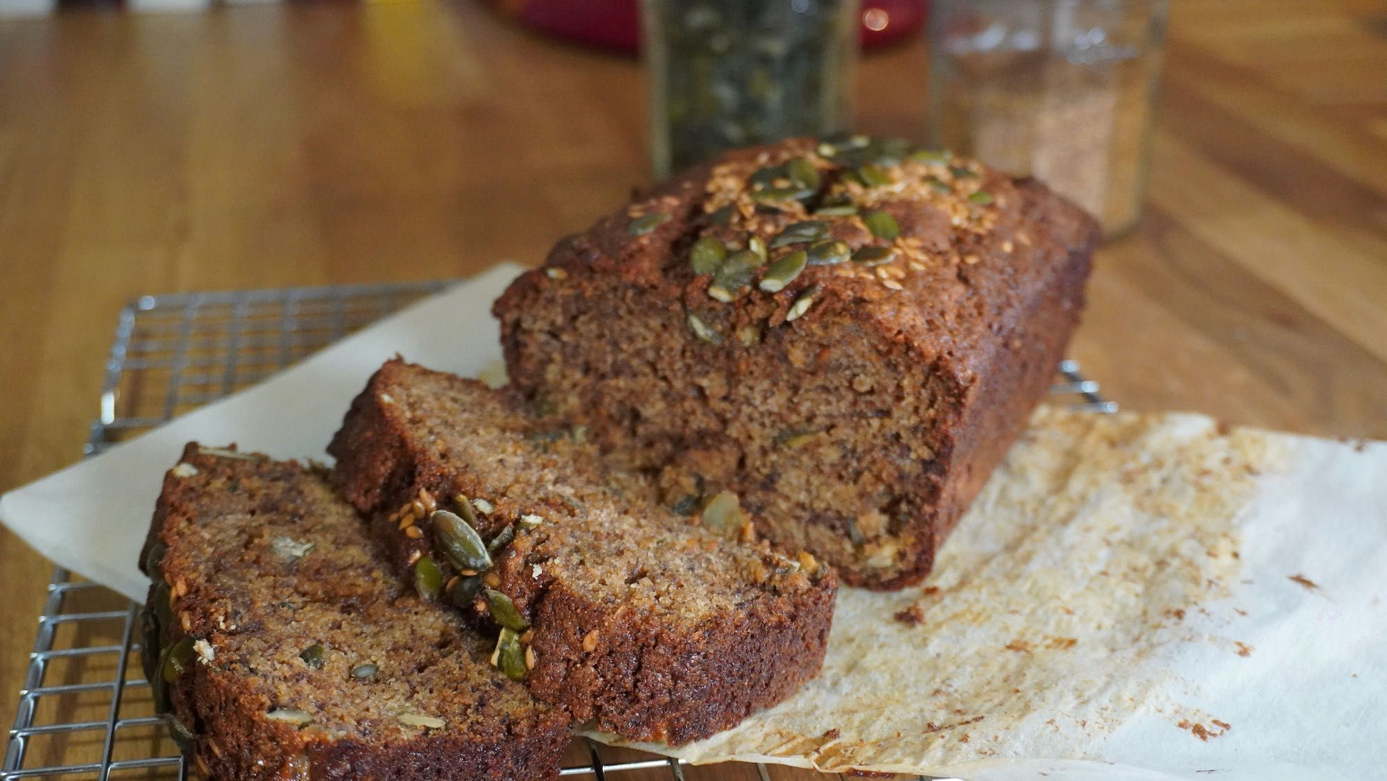 Healthy Seeded Banana Bread with Spelt Flour