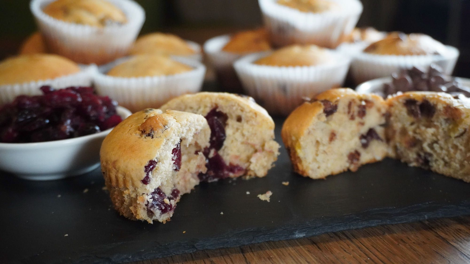Spelt Banana Muffins: 2 bananas, 2 ways choc chip & cranberries
