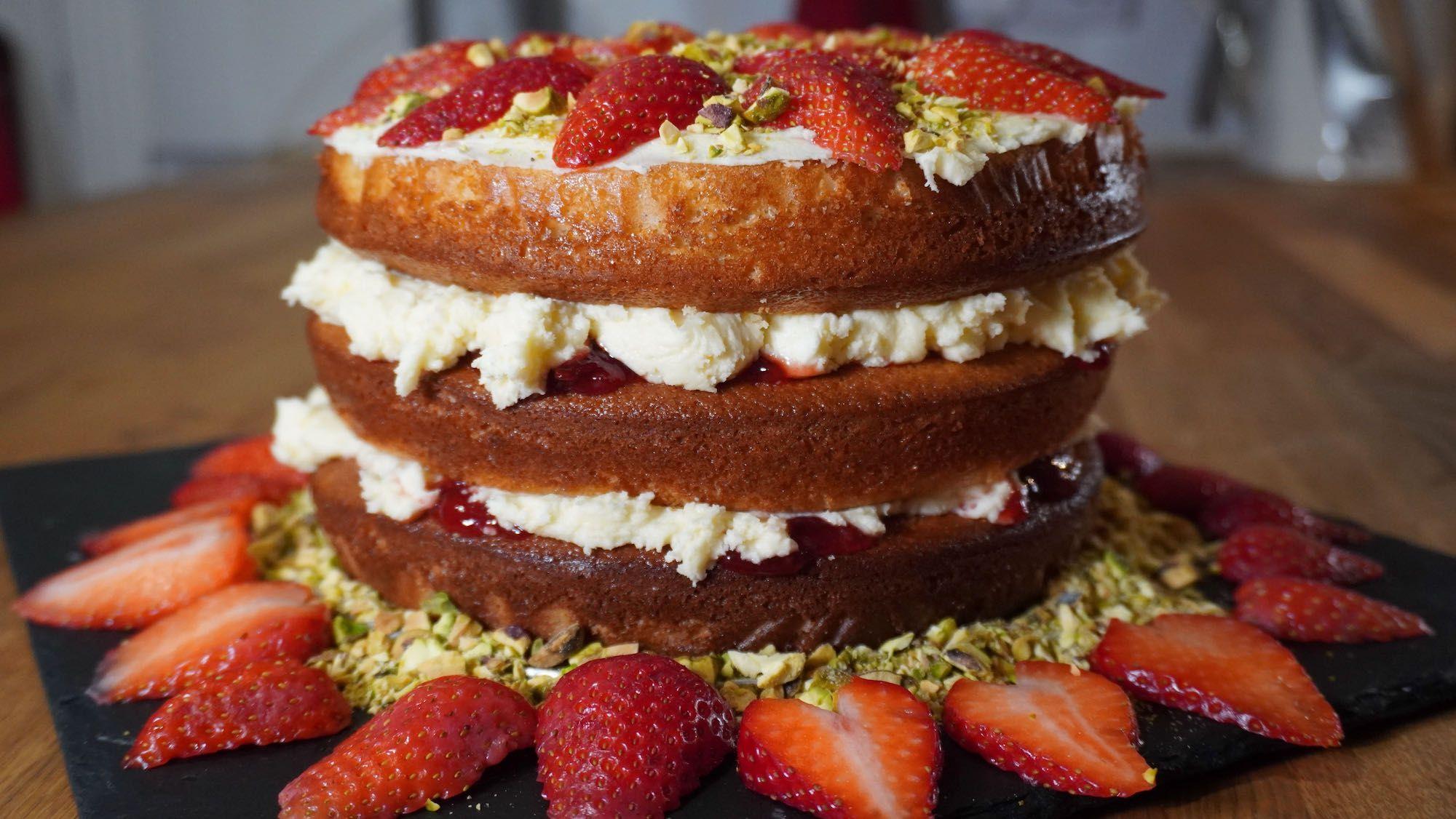 Spelt Strawberry Layer Cake