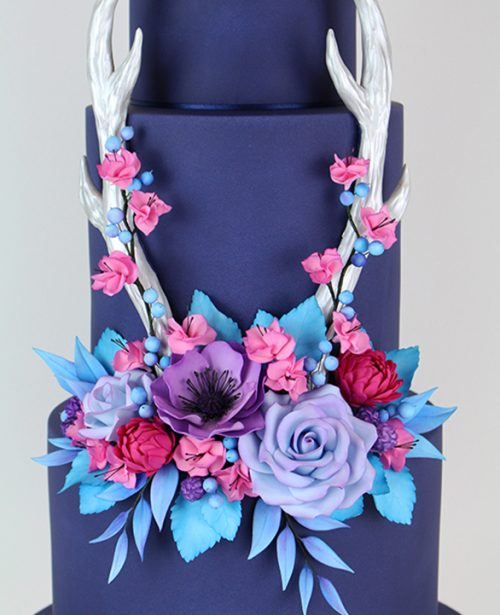 Wedding Cake Classes: Floral Antlers Wedding Cake 2 Day Class