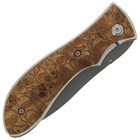 "8"" LOCK KNIFE W BURLWOOD CARVED HANDLE"
