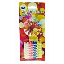24PC BIRTHDAY CANDLES WITH HOLDERS SWL