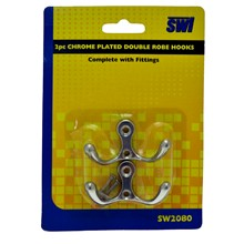 2PC CHROME PLATED DOUBLE ROBE HOOKS