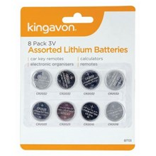 KINGAVON -  3V ASSORTED LITHIUM BATTERIES - 8 PACK