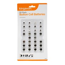 KINGAVON - ASSORTED BUTTON CELL BATTERIES - 30 PK